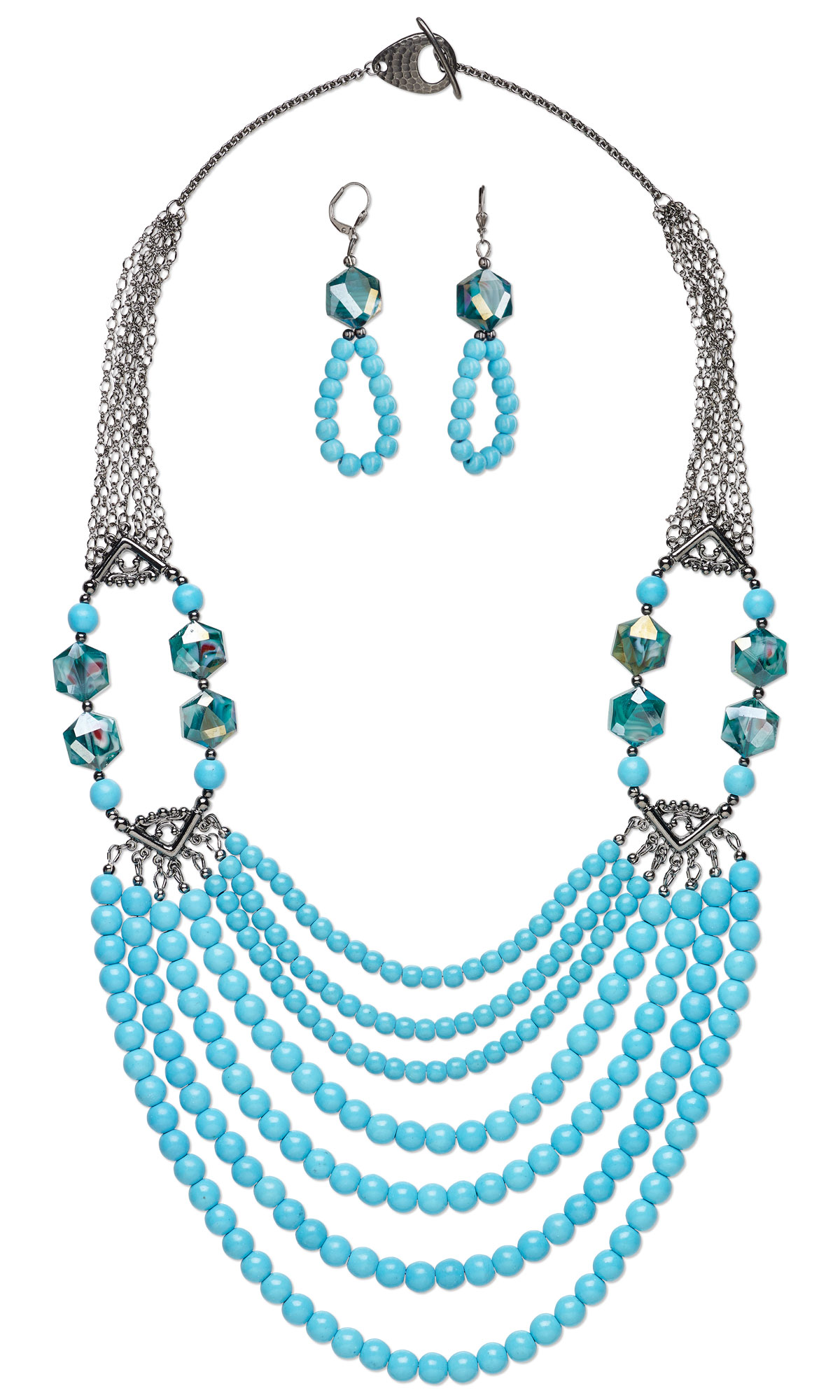 jewelry design multi strand necklace and earring set