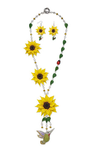 Jewelry Design - Single-Strand Necklace and Earring Set with Premo! Sculpey® Polymer Clay and Glass Beadsand Beads