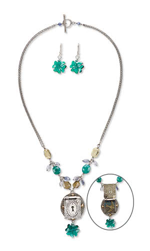 Jewelry Design - Double-Strand Necklace and Earring Set with PMC™ Precious Metal Clay, Gemstone Beads and Swarovski Crystaland Beads