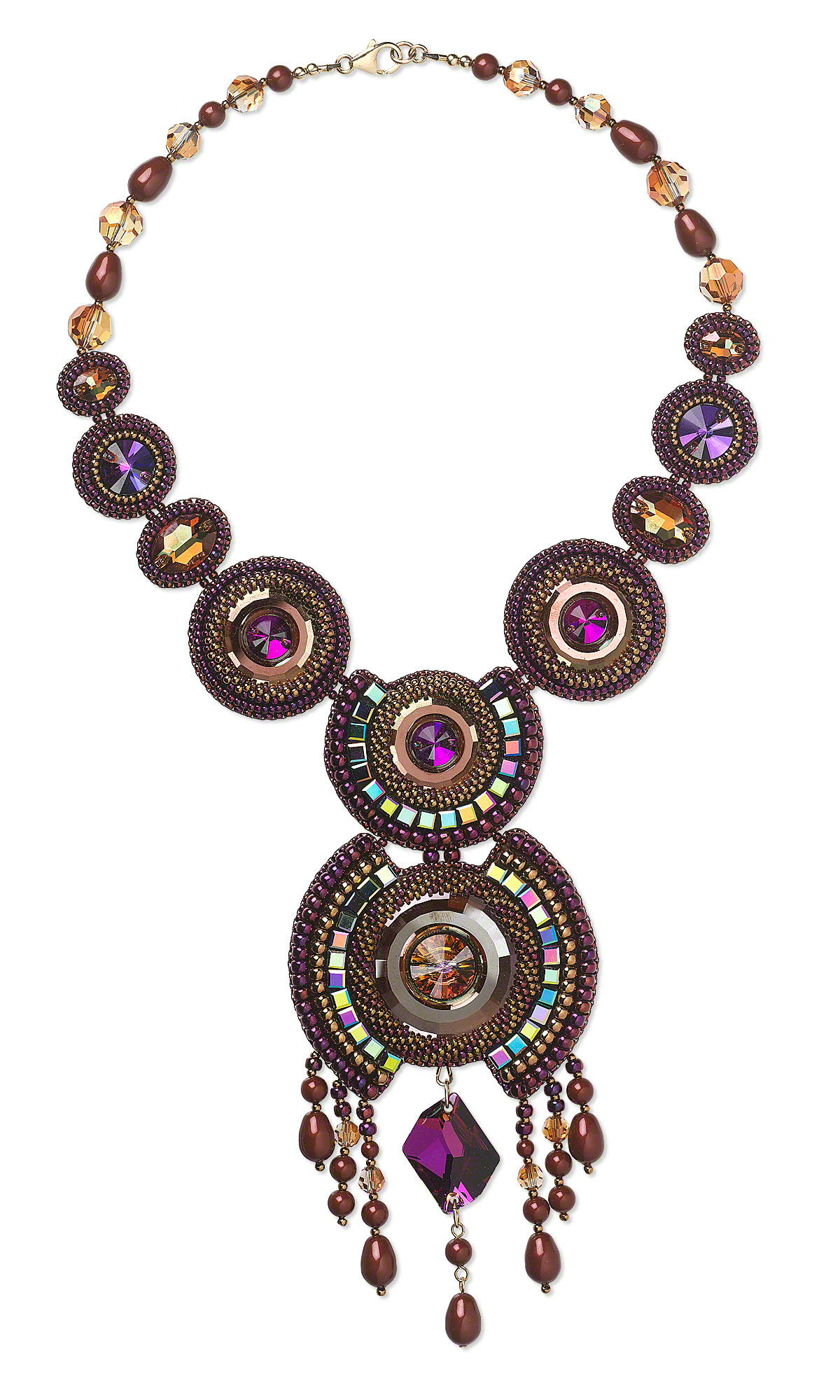 Jewelry design single strand necklace with swarovski