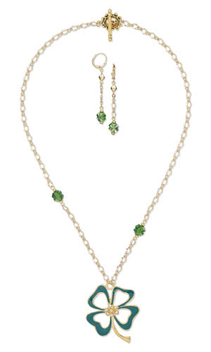 Jewelry Design - Single-Strand Necklace and Earring Set with Gold-Plated