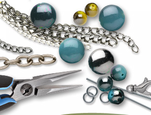 Metallic-Colored Plastic Beads and Findings