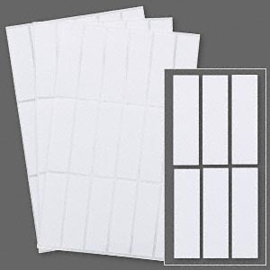 Adhesive label, paper, white, 5/8 x 3/8 inch rectangle. Sold per ...