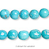 Bead, Sleeping Beauty turquoise (enhanced), medium to large pebble, B grade, Mohs hardness 5 to 6. Sold per 16-inch strand.