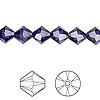 Bead, Swarovski crystal, Crystal Passions®, purple velvet, 8mm Xilion bicone (5328). Sold per pkg of 12.