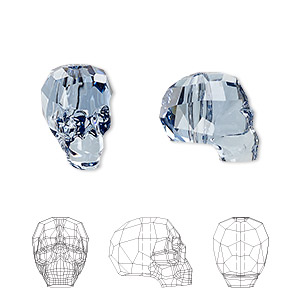 Bead, Swarovski® crystals, Crystal Passions®, denim blue, 14x13x10mm faceted skull (5750). Sold individually.