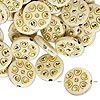 Bead, acrylic, ivory and gold, 18mm double-sided flat round with horseshoe design, 2mm hole. Sold per pkg of 50.