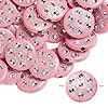 Bead, acrylic, pink and silver, 18mm double-sided flat round with horseshoe design, 2mm hole. Sold per pkg of 50.