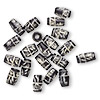 Bead, bone (dyed), black and white, 13x6mm-13x8mm hand-cut carved hairpipe with line and dot design, Mohs hardness 2-1/2. Sold per pkg of 20.