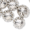 Bead cap, silver-finished steel, 19x10mm round with cutouts, fits 17-19mm bead. Sold per pkg of 24.