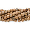 Bead, grain stone (natural), 4mm round, C grade, Mohs hardness 3. Sold per pkg of (10) 16-inch strands.