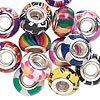 Bead mix, Dione®, polymer clay and silver-finished brass grommets, mixed colors, 14x8mm rondelle with mixed designs, 5mm hole. Sold per pkg of 14.