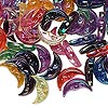 Bead mix, acrylic, multicolored with transparent iridescent rainbow finish, 12x5x3.5mm crescent moon. Sold per pkg of 100.