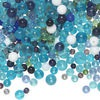Bead mix, glass, multicolored, 6-14mm round. Sold per one-pound pkg, approximately 570 beads.