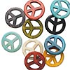 Bead mix, howlite (imitation), mixed colors, 25mm round peace sign. Sold per pkg of 10.