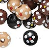 Bead mix, painted wood, mixed colors, 13-14mm irregular round with flower design. Sold per 90-gram pkg, approximately 140 beads. Minimum 4 per order.