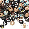 Bead mix, painted wood, mixed colors, 5-6mm irregular round with flower design. Sold per 400-gram pkg, approximately 9,000 beads.