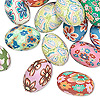 Bead mix, polymer clay, multicolored, 15x10mm oval. Sold per pkg of 30.
