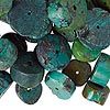 Bead mix, turquoise (dyed / stabilized / waxed), blue, 10x1mm-18x8mm heishi, Mohs hardness 5 to 6. Sold per 1/4 pound pkg, approximately 70 beads.