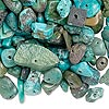 Bead mix, turquoise (dyed / stabilized), small to extra-large chip, Mohs hardness 5 to 6. Sold per 1/4 pound pkg, approximately 220-370 beads.