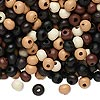 Bead mix, wood, mixed colors, 5x4mm rondelle. Sold per 400-gram pkg, approximately 12,000 beads.