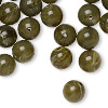 Bead, vintage German acrylic, marbled opaque olive green and white, 10mm round. Sold per pkg of 100.