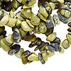 "Bead, yellow ""turquoise"" (natural), medium chip, Mohs hardness 2-1/2 to 6. Sold per 34-inch strand. Minimum 5 per order."