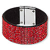 "Bracelet, glass rhinestone / faux suede / imitation rhodium-finished ""pewter"" (zinc-based alloy), black and red, 31mm wide, 7 inches with magnetic clasp. Sold individually."