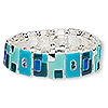 "Bracelet, stretch, enamel / glass rhinestone / silver-finished ""pewter"" (zinc-based alloy), multicolored, 19mm wide with rectangle, 7-1/2 inches. Sold individually."