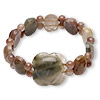 Bracelet, stretch, multi-gemstone (natural), 24mm wide with flower / oval / round, 7 inches, Mohs hardness 3 to 7. Sold individually.