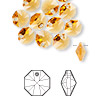 Drop, Swarovski crystal, Crystal Passions®, topaz, 8x8mm faceted octagon pendant (6401). Sold per pkg of 12.