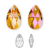 Drop, Swarovski crystal, crystal astral pink, 22x13mm faceted pear pendant (6106). Sold per pkg of 96.
