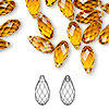 Drop, Swarovski crystal, topaz, 13x6.5mm faceted briolette pendant (6010). Sold individually.