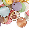 Drop mix, mother-of-pearl shell (bleached / dyed), multicolored, 15mm flat round. Sold per pkg of 100-grams, approximately 120 drops.