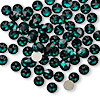 Flat back, Swarovski crystal rhinestone, Crystal Passions®, emerald, foil back, 4.6-4.8mm Xirius rose (2088), SS20. Sold per pkg of 12.