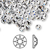 Flat back, Swarovski hotfix crystal rhinestone, Crystal Passions®, crystal clear, foil back, 4.6-4.8mm Xirius rose (2078), SS20. Sold per pkg of 12.