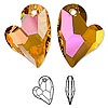 Focal, Swarovski crystal, crystal astral pink, 36x26mm faceted Devoted 2 U Heart pendant (6261). Sold per pkg of 12.