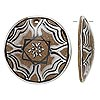 Focal, coconut shell, brown and white, 47-51mm single-sided flat round with hand-painted flower, Mohs hardness 3-1/2. Sold individually.