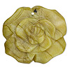 "Focal, yellow ""turquoise"" (natural), 40x40mm-45x45mm carved flower, B grade, Mohs hardness 2-1/2 to 6. Sold individually."