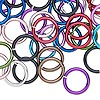 Jumpring mix, anodized aluminum, mixed colors, 12mm round, 14 gauge. Sold per pkg of 100.