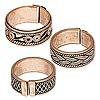 Ring mix, antiqued copper, 8-9mm band with assorted design, adjustable 7.5 size or larger. Sold per pkg of 3.