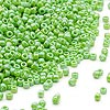 Seed bead, Dyna-Mites™, opaque rainbow jade green, #11 round. Sold per 40-gram pkg.