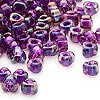 Seed bead, Miyuki, glass, purple color-lined blue, (TR1832), #5 triangle. Sold per 25-gram pkg.